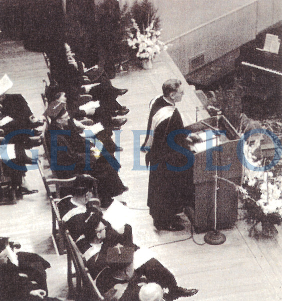 1963 MacVittie Named President<br /> Francis Moench retired, and Robert W. MacVittie—for whom the MacVittie College Union was named—became president, serving from 1963 until 1979, with a bonus stint as acting president in 1988–89. Photo: President MacVittie delivered his inaugural address in Wadsworth Auditorium. (May 1964, Alumni News)