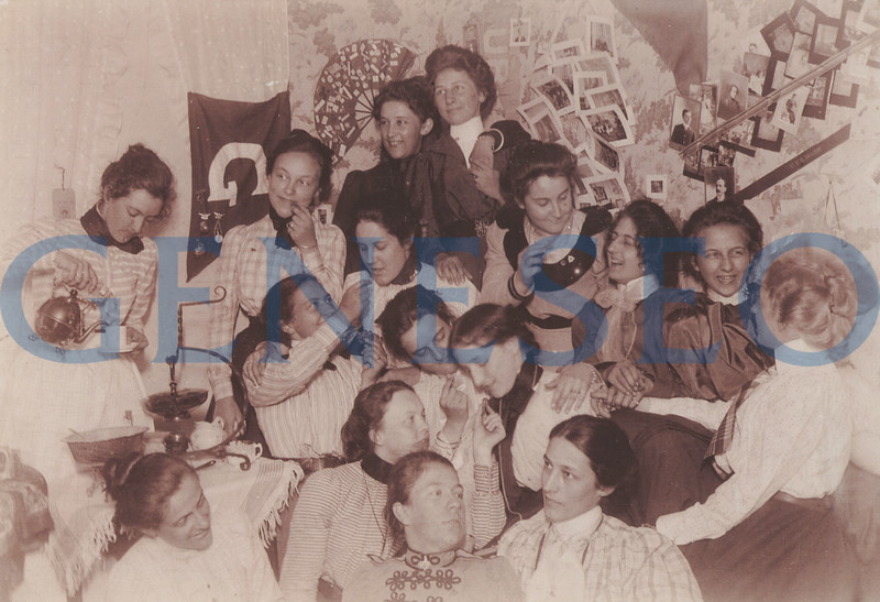 """1872 Women's Fraternity<br /> The women's Clionian fraternity was founded. Regardless of gender, Greek societies were known as """"fraternities."""" Fraternities and sororities enriched campus social life, sponsoring get-togethers such as this """"Cionian spread"""" at the simmons boarding house"""