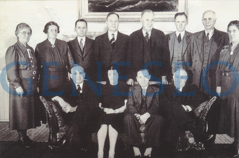 """1938 Up from Three to Four<br /> All programs were lengthened to four years in September. To reflect that status, the name of the school changed to the State Normal School of Geneseo. Photo: The 1937-38 Faculty Council, which acted """"as a benevolent parent"""" and advised the Student Council, consisted of (front, from left): Clarence Lehman, Lucy Harmon, John Parry, Principal Welles; (back): Mary Richardson, Lena Rogers, Herman Behrens, Clayton Mau, Guy Bailey, Frederick Holcomb, R. LeRoy Countryman, and Garretta Seger. (1938 Normalian)"""