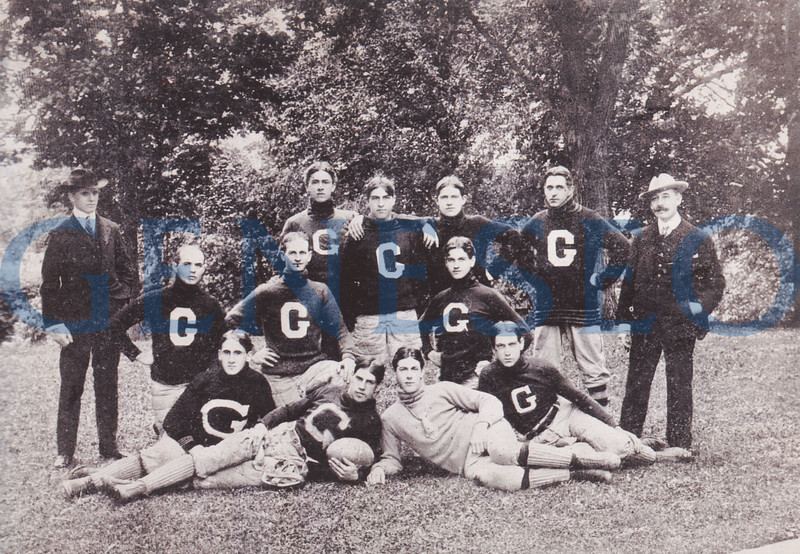 """1896 First Athletic Competitions<br /> The football and men's track and field teams participated in the college's earliest known intercollegiate athletic competitions. Photo: The 1901 football team included (front, from left): Claire Wilson, """"Herb"""" Dunn, unidentified players; (middle): Purl Zielman, Gene Weller, Archibald Campbell; (back): manager Clarence Averill, """"Jap"""" Hurlburt, """"Can"""" Patchin, """"Jo"""" Purdym John Clancy. (Photo Livingston County HIstorian)"""