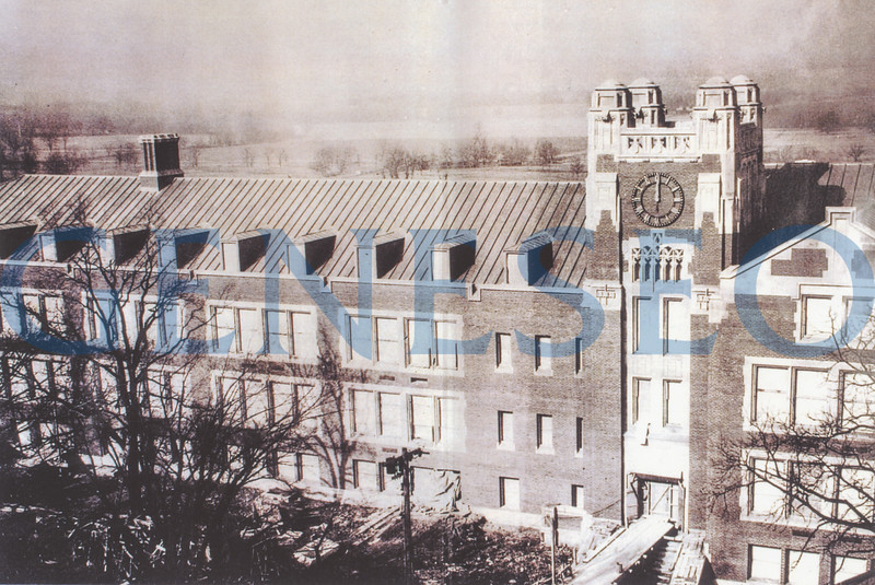 1938 Class Room and Administration Building Opened<br /> The Class Room and Administration Building (later named Sturges Hall) was completed; it was formally dedicated in 1940. The three-story building housed student and faculty lounges, administrative and faculty offices, classrooms and laboratories, a bookstore, a 250-seat cafeteria, an audatorium, a speech clinic, and a greenhouse. From 1938 to 1950, the campus consisted only of this building, the Holcomb School of Practice (later Welles Hall), and Old Main.
