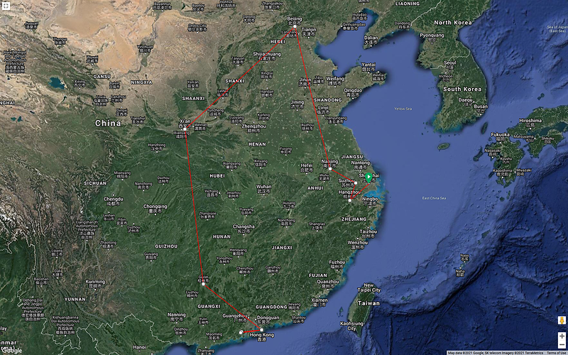China 95 Approximate Route