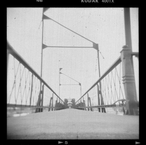 Pedestrian bridge over railroad, downtown Laramie, WY