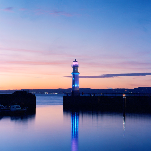 Newhaven Harbour Lighthouse During Twilight (CineStill 800T Film)