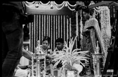 Saji's wedding (Portra Iso 400 (b/w)): bride and groom during the ceremony
