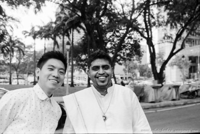 Saji's wedding (Portra Iso 400 (b/w)): kj and saji