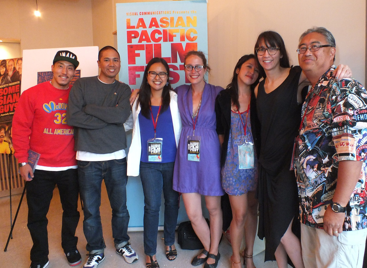 "Film makers, (L-R) Tad Nakamura, Eric Tandoc, Marissa Aroy, Sara Friedland, Esy Casey, Ursula Liang and me (yes I made a film too in 2005 ""Got Book?..."")<br /> LA Asian Pacific Film Fest - May 9, 2014 at JANM"