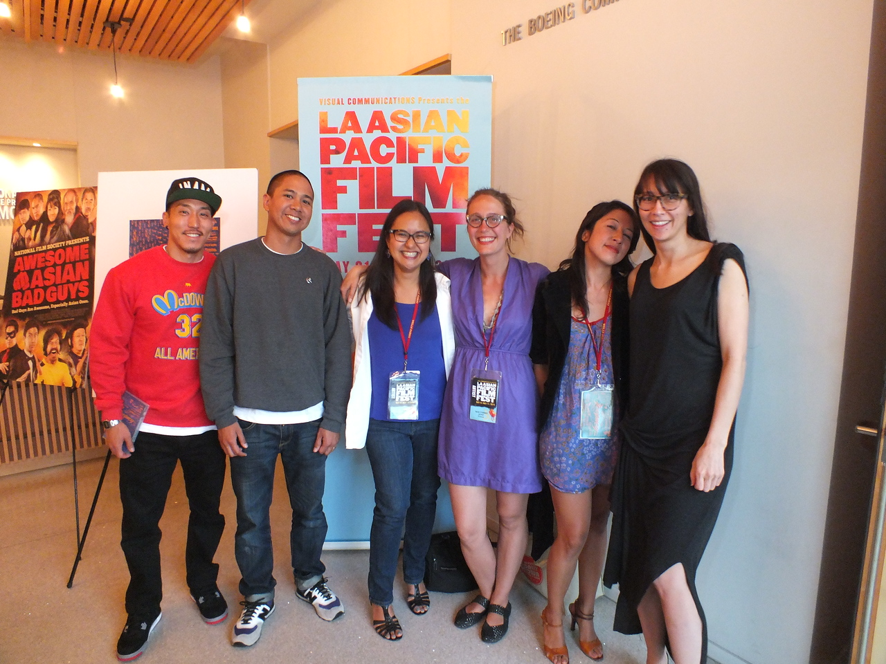 Film makers, (L-R) Tad Nakamura, Eric Tandoc, Marissa Aroy, Sara Friedland, Esy Casey, Ursula Liang.<br /> LA Asian Pacific Film Fest - May 9, 2014 at JANM