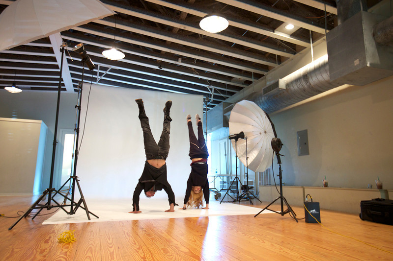 Chachi Gonzales and Shawn Welling (hand) stand off...