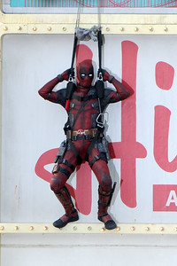 Ryan Reynolds' Character Deadpool Gets Stuck On A Billboard!