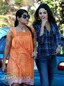 Mila Kunis In Revealing Blue Checked Shirt Filming Movie In Los Angeles