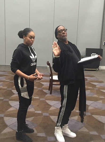 Demetria McKinney and Thomas Jefferson Byrd at the Set It Off stage play rehearsal on March 1, 2018