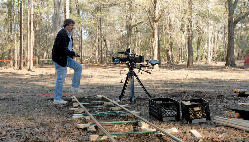 production photo, Jim Williams with the camera and dolly track.