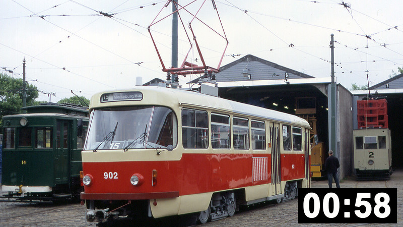 Halle 902, a 1969 Tatra ZT4Dcar in action at the National Tramway Museum on 12th June 2005.<br /> (58 sec.)