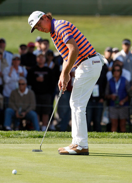 . Second place finisher Kelly Kraft putts on the 17th hole at the Pebble Beach Golf Links during the Final round of the AT&T Pebble Beach Pro Am on Sunday, Feb. 12, 2017.  (Vern Fisher - Monterey Herald)