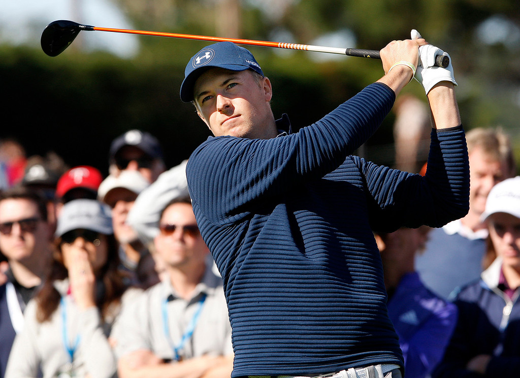 . Jordan Spieth tees off fromn the 4th hole at the Pebble Beach Golf Links during the Final round of the AT&T Pebble Beach Pro Am on Sunday, Feb. 12, 2017.  (Vern Fisher - Monterey Herald)