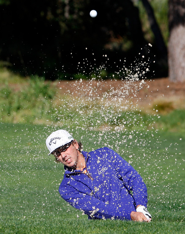 . Kelly Kraft hits from a bunker on the 2nd hole at the Pebble Beach Golf Links during the Final round of the AT&T Pebble Beach Pro Am on Sunday, Feb. 12, 2017.  Kraft went on to place second to winner Jordan Spieth.  (Vern Fisher - Monterey Herald)