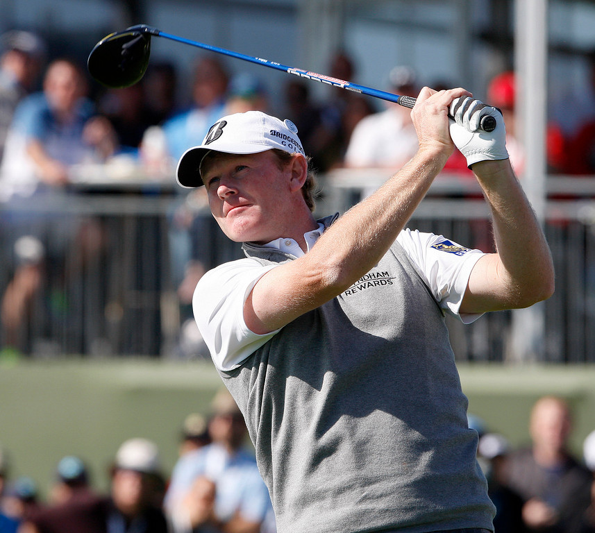 . Brandt Snedeker tees off from the 9th hole at the Pebble Beach Golf Links during the Final round of the AT&T Pebble Beach Pro Am on Sunday, Feb. 12, 2017.  (Vern Fisher - Monterey Herald)