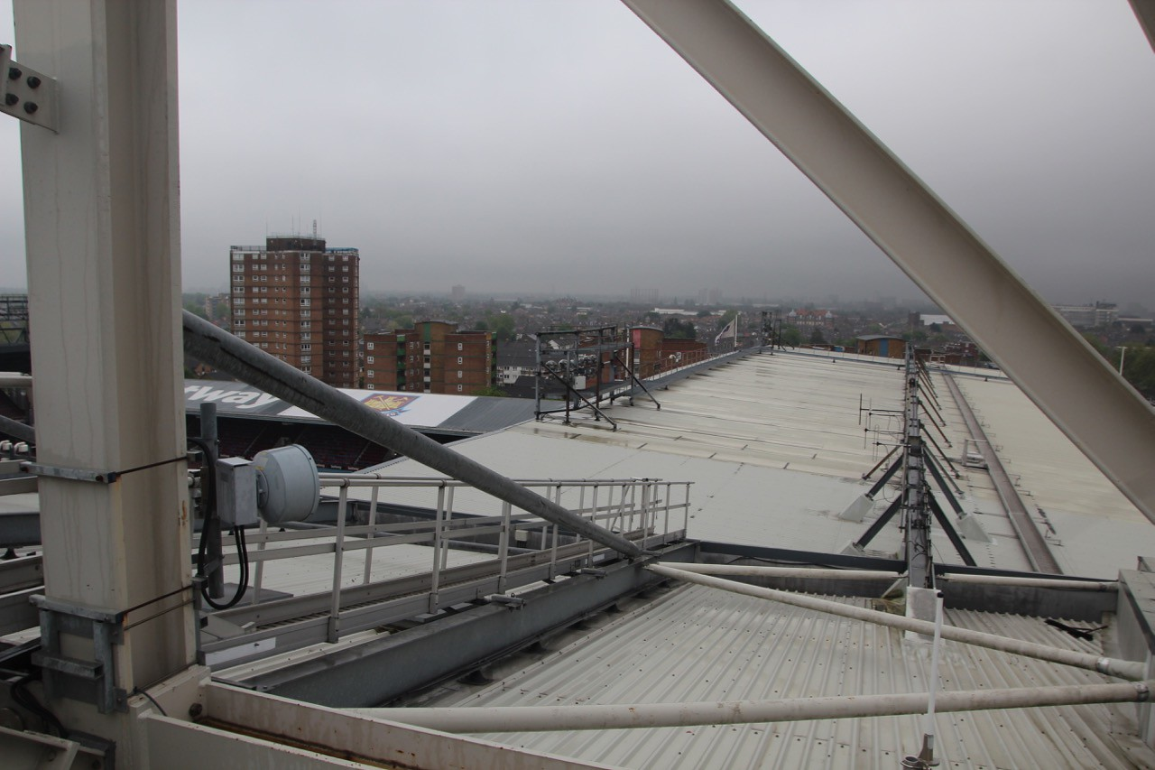 Looking onto the roof of Bobby Moore Stand.