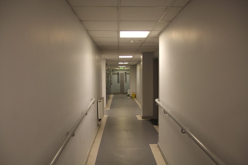 Corridor to Press Room.