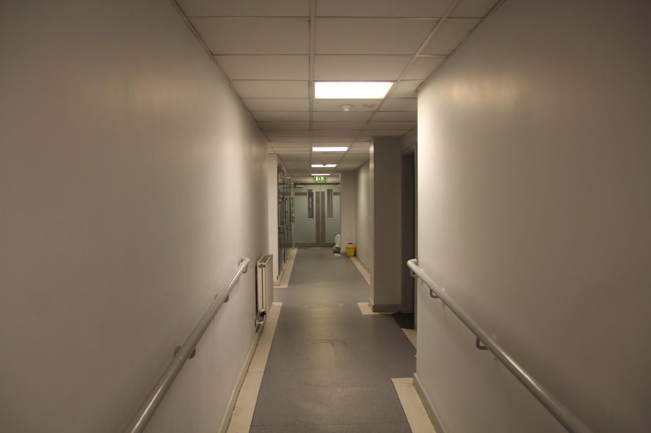 Corridor to Press Room.