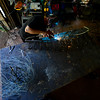 KRISTOPHER RADDER - BRATTLEBORO REFORMER<br /> Rich Gillis, of Mystic Metallurgy, puts the final touches on a mermaid on Monday, June 12, 2017, that he has been working on throughout the past year. The mermaid is currently on display at the Welcome Center.
