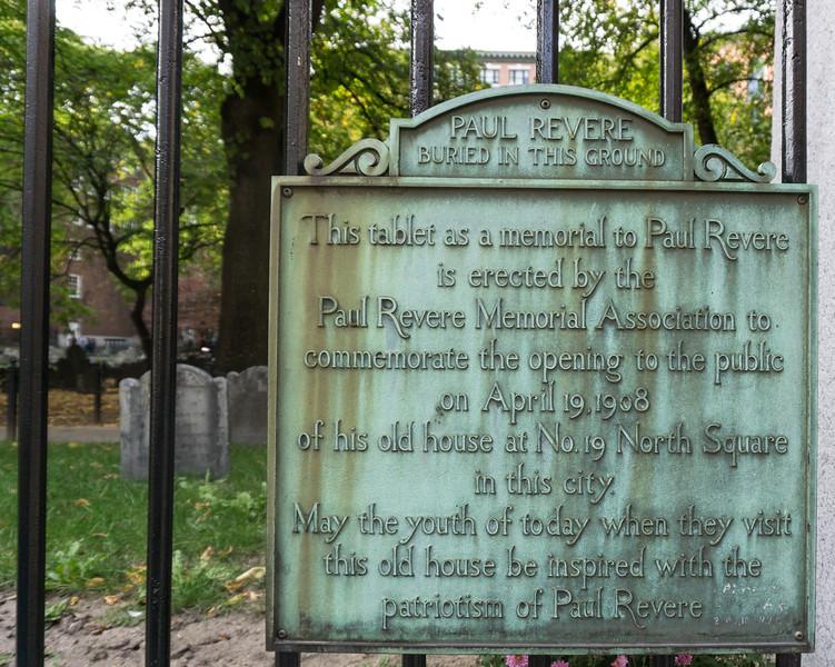 Paul Revere Grave, Granary Burying Ground, Boston
