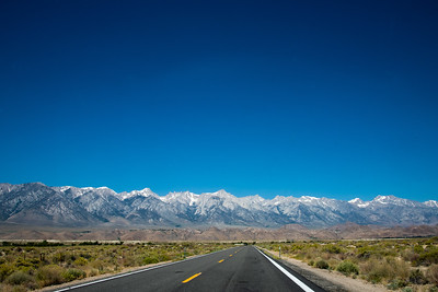 Beyond description: eastern side of the Sierra Nevada culminating with the highest peak, Mt Whitney at 14,505ft, further north, close to Bishop.