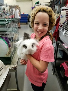 LMC volunteer and Nala the bunny