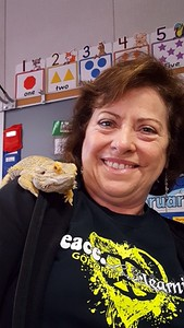 Mrs Hebert Goforth with Bearded Dragon
