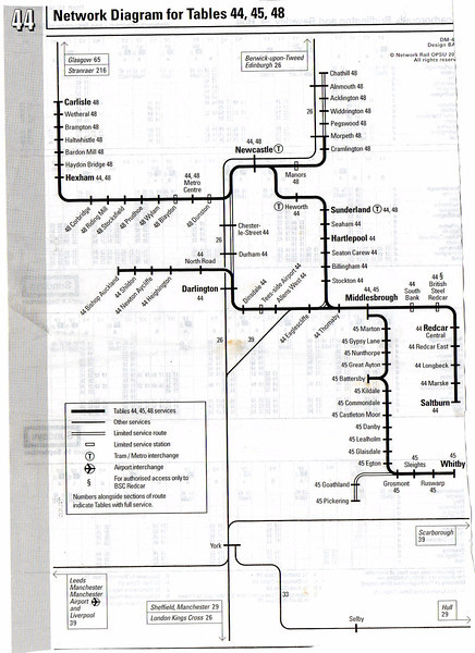 Timetable Map from Great Britain Timetable