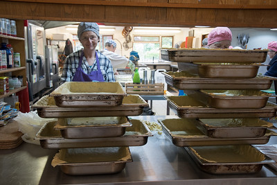 Trays lined with dough