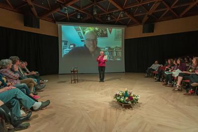 Robin Alfred introducing Bill McKibber on skype