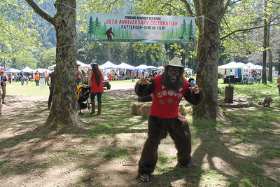 Several attendees of the Bigfoot festival dressed in Bigfoot attire. (Natalya Estrada - The Times-Standard)