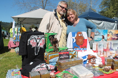 Craig Woolheater and his wife Tammy Allen from Dallas , Texas, set up shop at the Finding Bigfoot Festival. (Natalya Estrada - The Times-Standard)