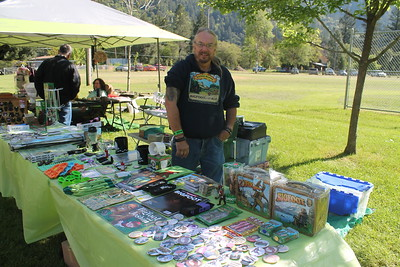 Jerry Hein from Jamestown said he's been selling Bigfoot merchandise for 10 years. He first started looking for Bigfoot in 1971 and looks forward to talking with others about their Sasquatch experiences. (Natalya Estrada - The Times-Standard)