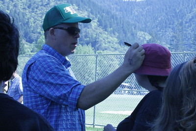 "James ""Bobo"" Fay, a host of Animal Planet's ""Finding Bigfoot"" signed autographs at the Finding Bigfoot Festival in Willow Creek. (Natalya Estrada - The Times-Standard)"