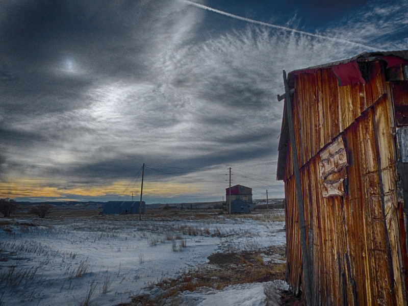 HDR of outbuilding on the Cline Ranch State Wildlife Area. Pretty remnants of sunrise in the sky.