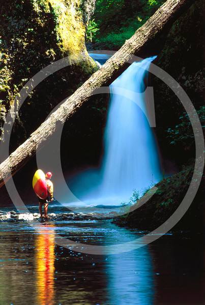 Kayaker at Punchbowl Falls - Eagle Cr., Oregon - Copyright 2000 - Charlie Munsey
