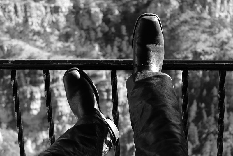 Resting Boots overlooking a canyon, Manitou Springs, Colorado, January 2013