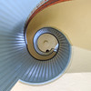 Spiral staircase inside historic Point Loma Lighthouse, Cabrillo National Monument