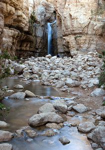 The spring-fed waterfall known as Hidden Falls in the Arugot Canyon at Ein Gedi in the Judean Desert in Israel.