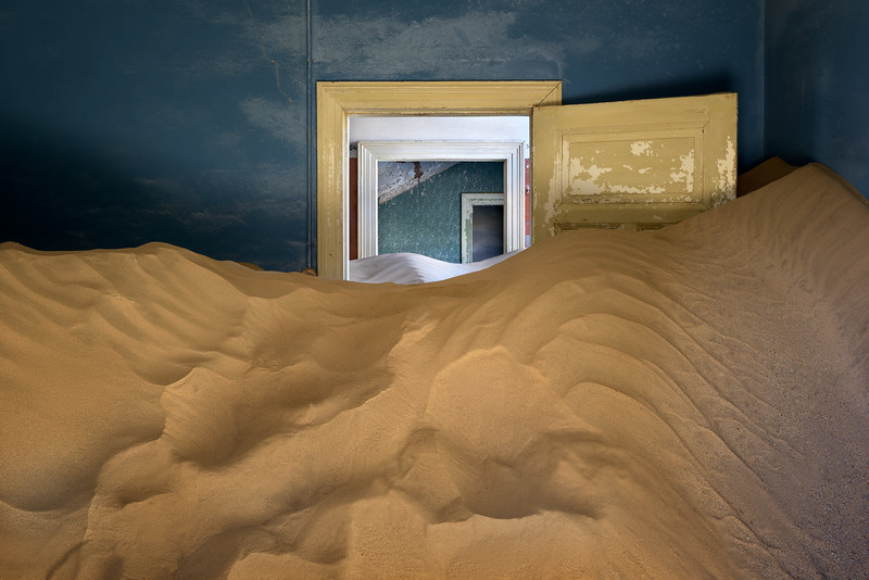 Abandoned House Full of Sand in the Ghost Town of Kolmanskop, Namibia