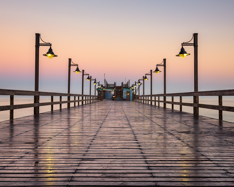 Wet Swakopmund Pier at Sunrise, Namibia, Africa