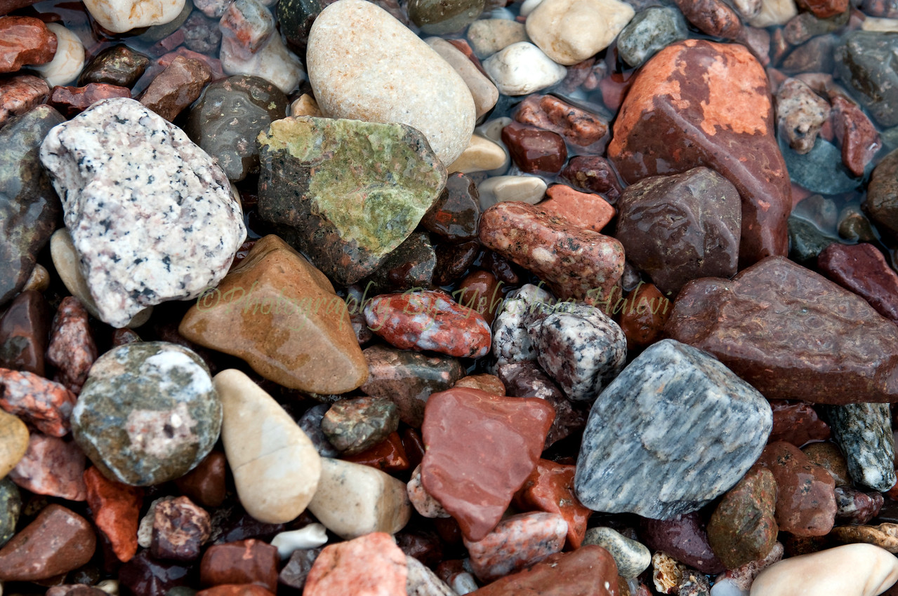 Colorful stones found along the shoreline of the Red Sea in Eilat.