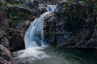 The Saar Stream waterfall on the Golan Heights