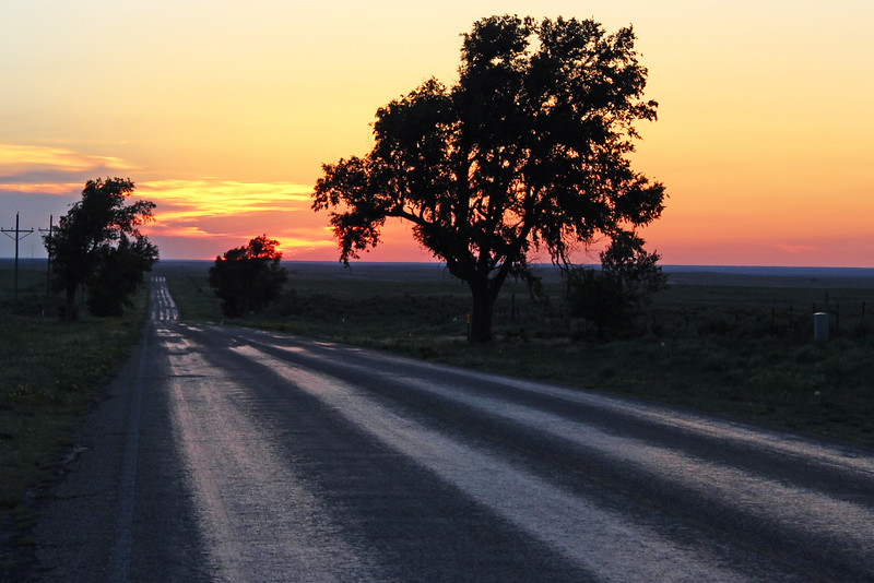 A lonely Texas road at sunset, June 2013