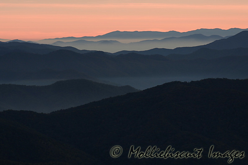 """Mountain Pastels"" Pre-dawn colors from Clingman's Dome area. These layered ""parfait-like"" shots are typical early and late. This particular shot was taken about 5:30 AM."