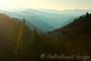 Oconaluftee Valley Overlook with rising sun to left.