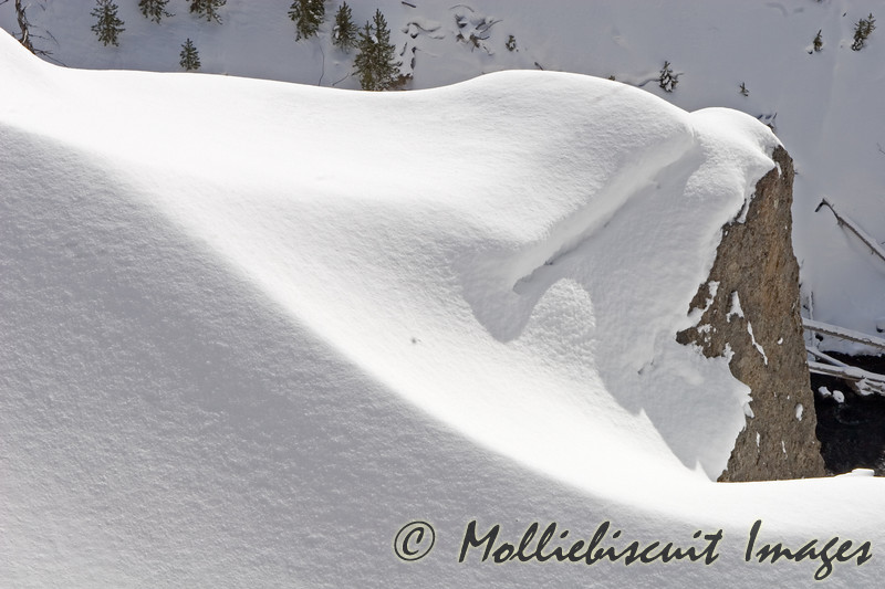 Snow Shapes and Shadows above waterfall